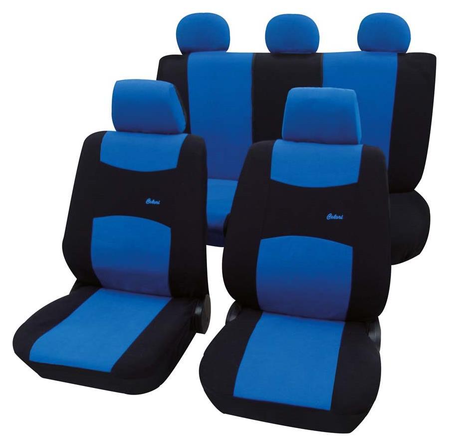 Uniwersalne poliestrowe pokrowce na siedzenia niebieskie   PETEX