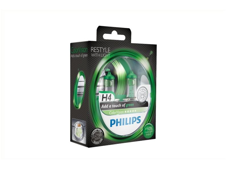 Żarówka H4 ColorVision zielona 55W [12V] (2 szt.)   PHILIPS