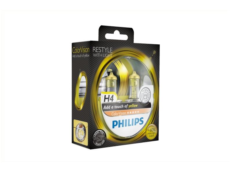 Żarówka H4 ColorVision żółta 55W [12V] (2 szt.)   PHILIPS