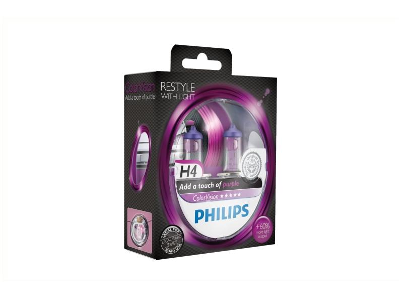 Żarówka H4 ColorVision różowa 55W [12V] (2 szt.) | PHILIPS