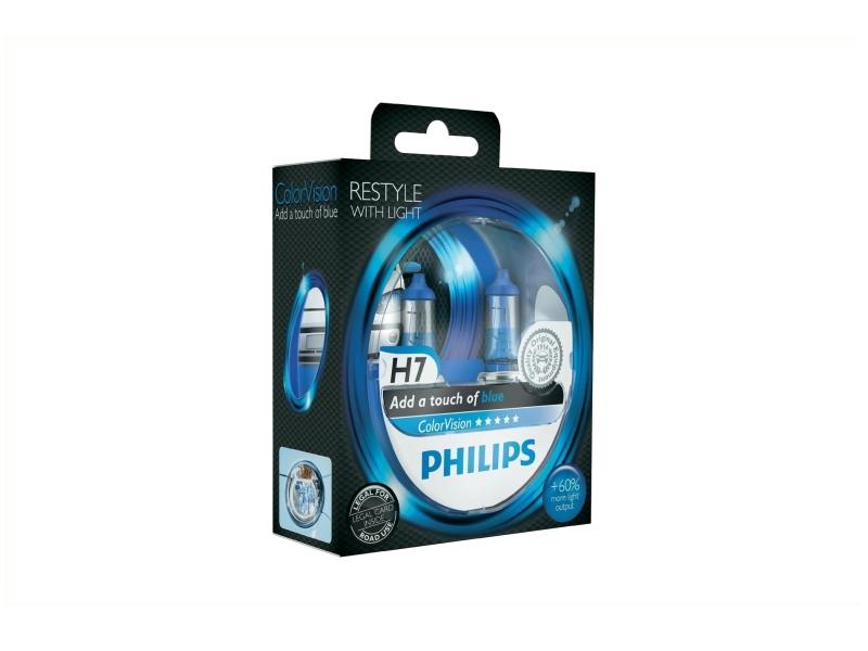 Żarówka H7 ColorVision niebieska 55W [12V] (2 szt.)   PHILIPS