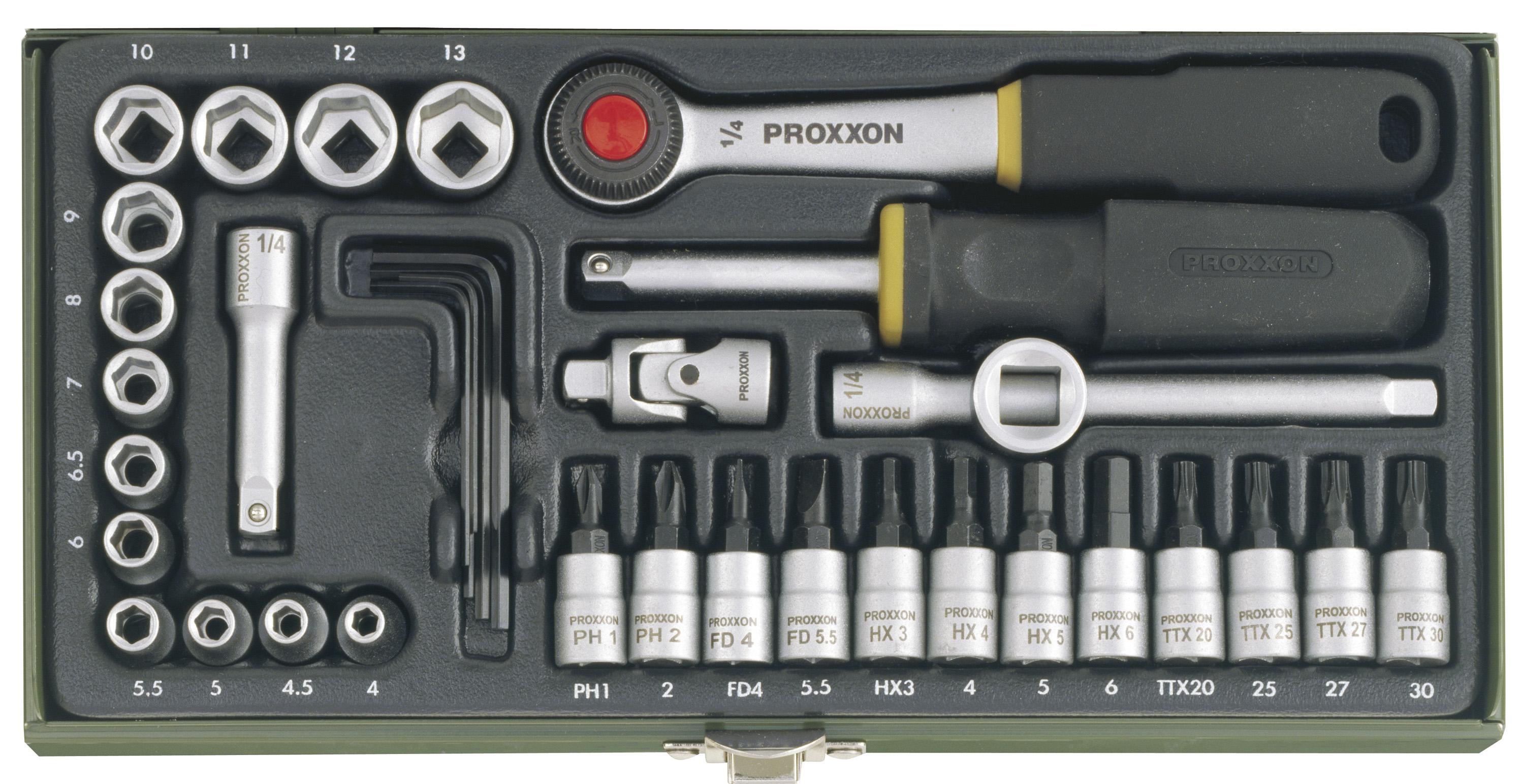 Zestaw kluczy nasadowych, 1/4 cala (36-częściowy) | PROXXON